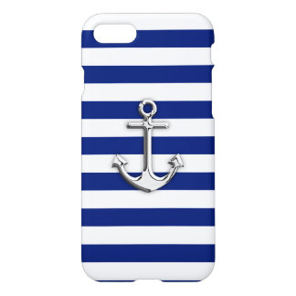 Chrome Anchor on Navy Stripes iPhone 7 Case