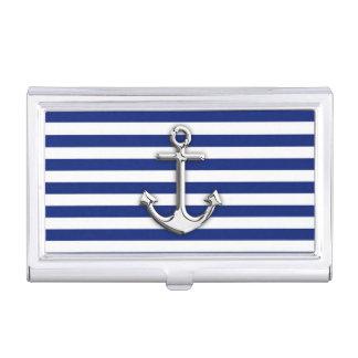 Chrome Anchor on Navy Stripes Print Business Card Holder