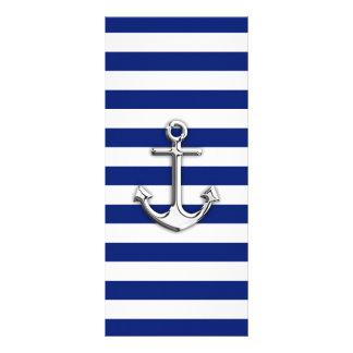 Chrome Anchor on Navy Stripes Rack Card Design