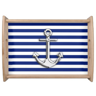 Chrome Anchor on Navy Stripes Serving Tray