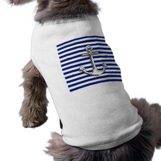 Chrome Anchor on Navy Stripes Sleeveless Dog Shirt
