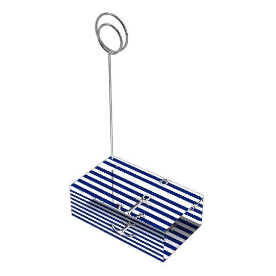 Chrome Anchor on Navy Stripes Table Card Holder