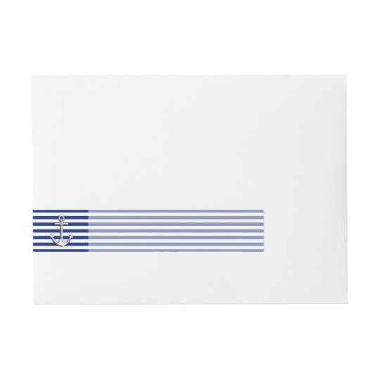 Chrome Anchor on Navy Stripes Wraparound Address Label
