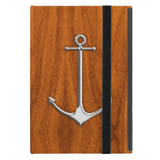 Chrome Anchor on Teak Veneer Nautical Lifestyle iPad Mini Case