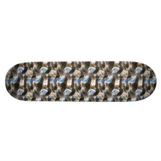 Chrome and Blue Skateboard