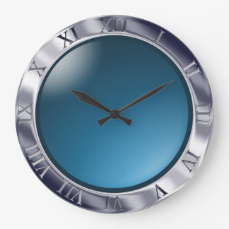 Chrome and Glass Large Clock