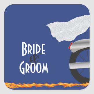 Chrome and Lace Biker Wedding Stickers