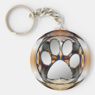 CHROME AND SILVER PAW PRINT BASIC ROUND BUTTON KEY RING