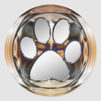 CHROME AND SILVER PAW PRINT ROUND STICKER