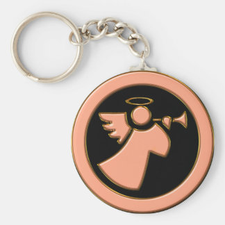 CHROME ANGEL WITH TRUMPET KEY RING