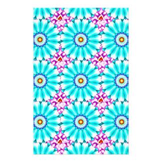 Chrome Aqua Pink Flower Kaleidoscope Stationery