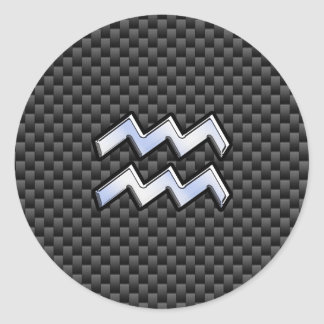 Chrome Aquarius Zodiac Sign Carbon Fiber Styles Round Sticker