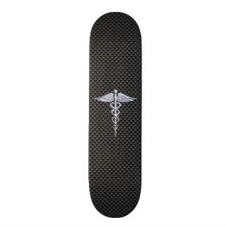 Chrome Caduceus Medical Symbol Black Carbon Fiber 20.6 Cm Skateboard Deck