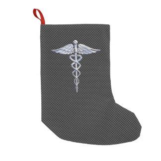 Chrome Caduceus Medical Symbol Black Carbon Fiber Small Christmas Stocking