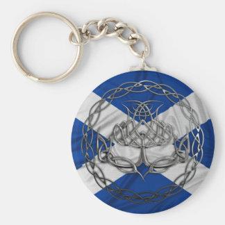 Chrome Celtic Knot Thistle Basic Round Button Key Ring