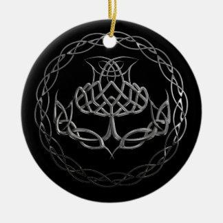 Chrome Celtic Knot Thistle Christmas Ornament