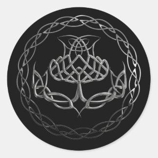 Chrome Celtic Knot Thistle Classic Round Sticker