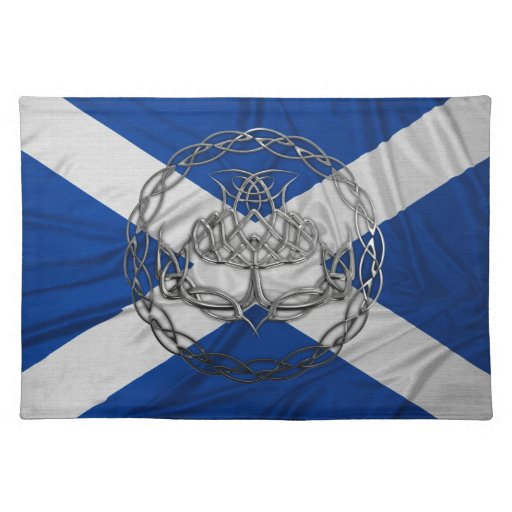 the symbol of scotland the guardian thistle in a chrome celtic knot ...