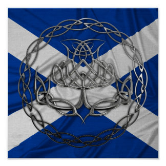 Chrome Celtic Knot Thistle Print