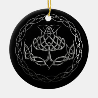 Chrome Celtic Knot Thistle Round Ceramic Decoration