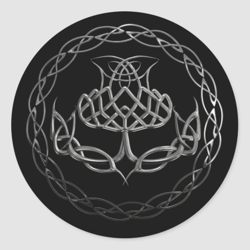 Chrome Celtic Knot Thistle Round Stickers