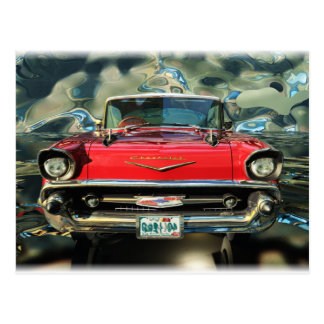 Chrome Chevy 57 Front Postcard
