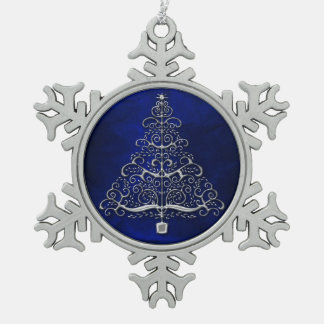 Chrome Christmas Tree Blue Snowflake Pewter Christmas Ornament