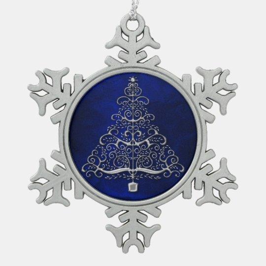 Chrome Christmas Tree Blue Snowflake Pewter Christmas Ornament