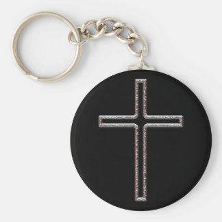 Chrome Crucifix Hollow Basic Round Button Key Ring