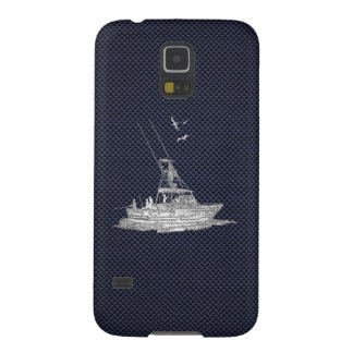 Chrome Deep Sea Fishing Boat on Carbon Fiber Print Galaxy S5 Cover