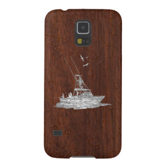 Chrome Deep Sea Fishing Boat on Wet Mahogany Print Galaxy S5 Cases