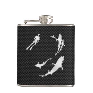 Chrome Diver n Sharks on Carbon Fiber Print Hip Flask
