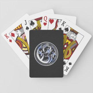 Chrome Dragon Crest black Carbon Fiber Print Playing Cards