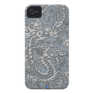 Chrome Dragon Grey Leather Texture Blackberry Case-Mate iPhone 4 Cases