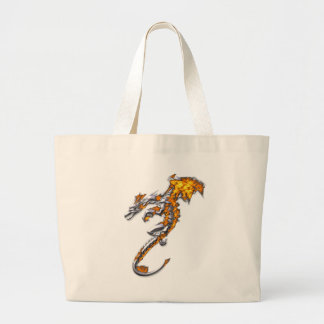 Chrome Dragon with Flames Tote Bags