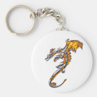 Chrome Dragon with Flames Basic Round Button Key Ring