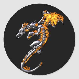 Chrome Dragon with Flames Round Sticker