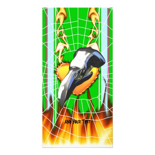 Chrome eagle skull design 2 with fire and web photo card template