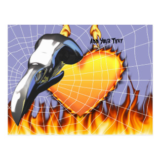 Chrome eagle skull design 2 with fire and web postcard