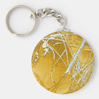 chrome fabric basic round button key ring