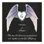Chrome & Faux Leather Winged Heart Invitation
