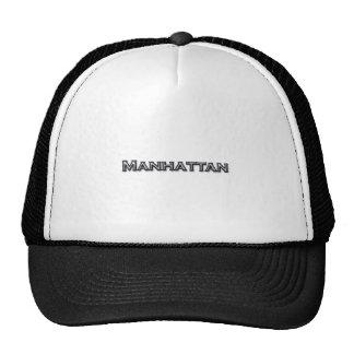 Chrome Finish Manhattan NY Text Logo Trucker Hat