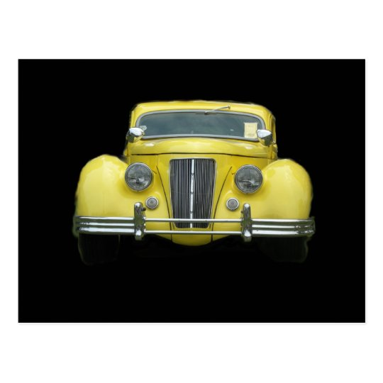 Chrome front grill of 1940's yellow antique car postcard