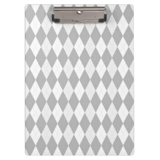 Chrome Grey  Argyle light gray Small Diamond Shape Clipboard