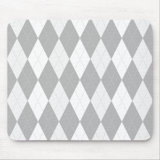 Chrome Grey  Argyle light gray Small Diamond Shape Mouse Pad
