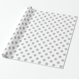 Chrome Grey Polka Dots Circles Wrapping Paper