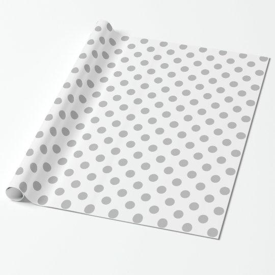 Chrome Grey Polka Dots Circles Wrapping Paper