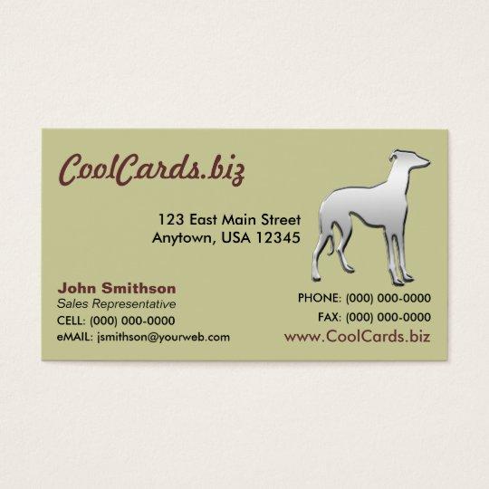 Chrome Greyhound Silhouette Business Card