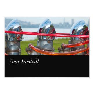 Chrome Hot rod Engine. 13 Cm X 18 Cm Invitation Card