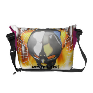 Chrome human skull design 2 with fire and web messenger bag